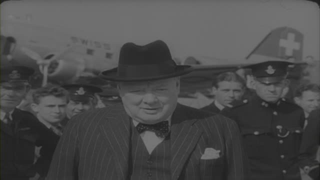 "winston churchill saying he hopes the congress of europe ""and the efforts which will be made by all, will do some good"" 1948 - politics icon stock videos & royalty-free footage"