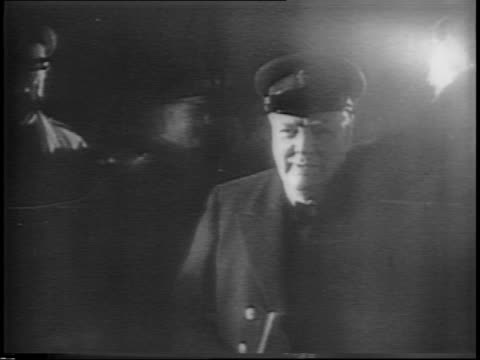 winston churchill steps off a train from moscow and begins greeting officers / churchill walks through crowd. - 1944 stock videos & royalty-free footage