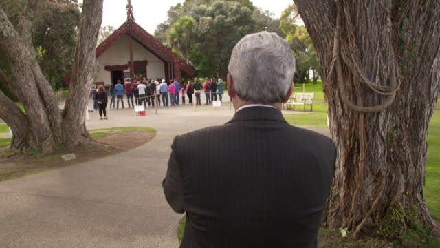 winston peters at the waitangi treaty grounds during the 2017 general election campaign - baia delle isole nuova zelanda video stock e b–roll