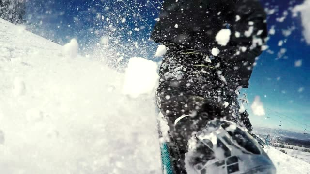 winter activities. skiing on a fresh snow - downhill skiing stock videos & royalty-free footage
