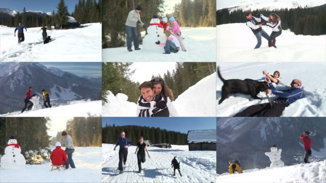 hd montage: winter activities - image montage stock videos & royalty-free footage