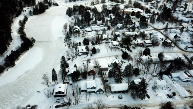 winter aerial view huntsville,canada - ontario canada stock videos & royalty-free footage