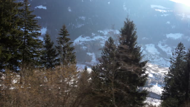 Winter Alps Landscape seen from Red Train Bernina Railway