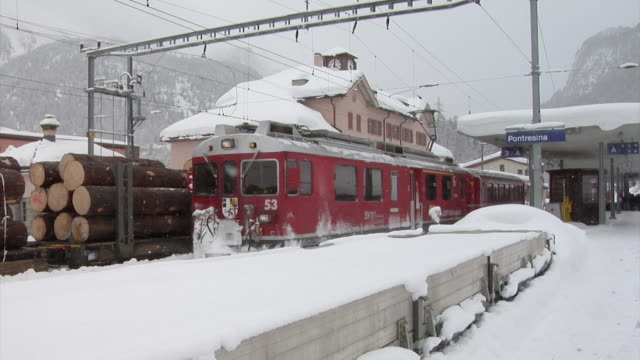winter at the rhaetain railway - rail freight stock videos and b-roll footage