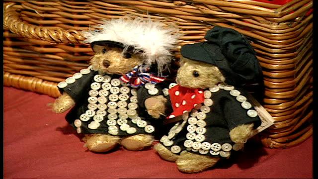 winter bearfest held in kensington england london kensington winter bearfest int three teddybears sitting in a picnic hamper two teddybears dressed... - hamper stock videos & royalty-free footage