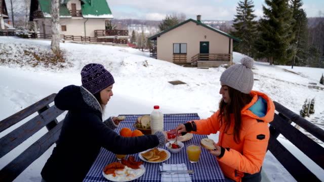 winter breakfast outdoors - raw food diet stock videos & royalty-free footage