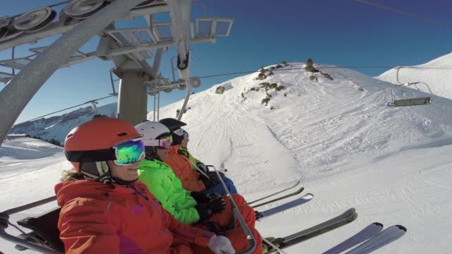 Winter Breaks, skiers on lift in skiing region