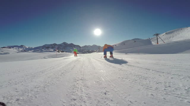 winter breaks, skiers perspective on sunny skiing winter day - flat stock videos and b-roll footage