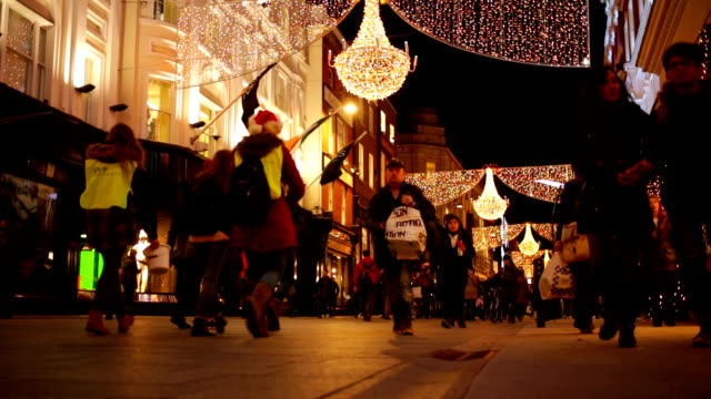 Winter Christmas Shopping Crowds in Dublin, Ireland