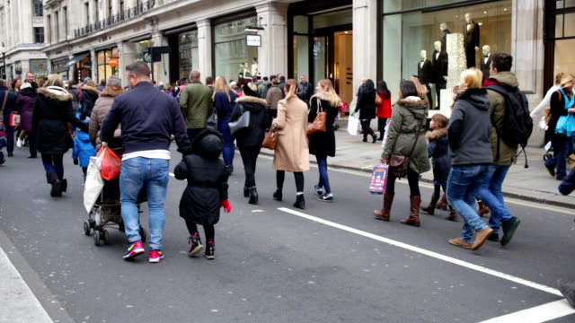 Winter Christmas Shopping Crowds in London, England