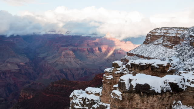 A winter daytime time lapse of the Grand Canyon view from the overlook at the El Tovar Hotel on the South Rim of the Grand Canyon (Arizona, USA) the day after a heavy snowstorm.