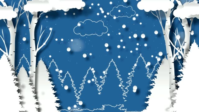 Winter design. Merry christmas and Happy New Year background design. Paper art and craft style.