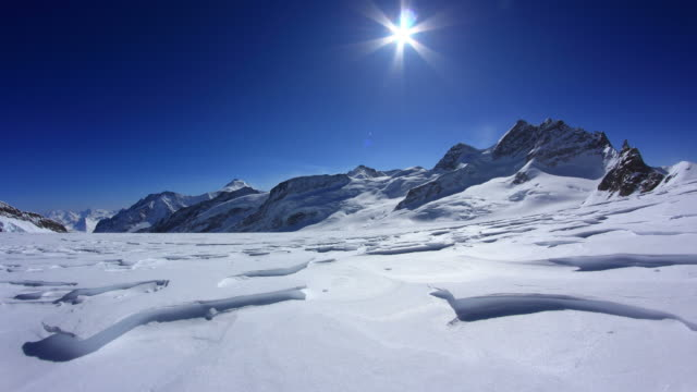 winter, dolly shot on Aletsch glacier near Jungfraujoch