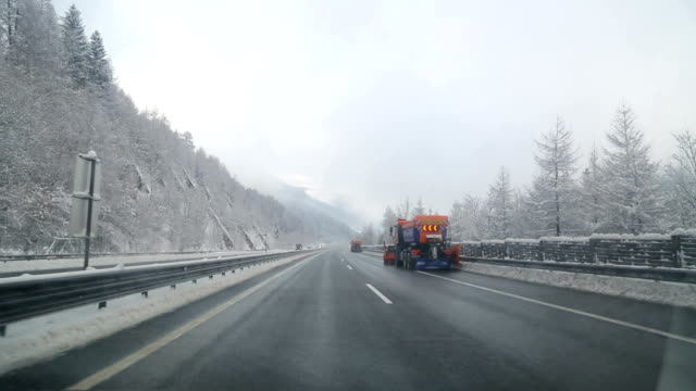 winter driving in austria - austria stock videos and b-roll footage