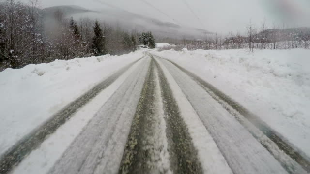 Winter driving on a slippery road