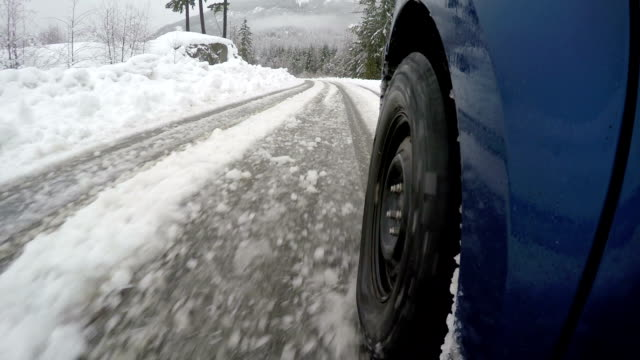 winter driving on a slippery road - danger stock videos & royalty-free footage