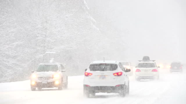 winter driving snow blizzard - winter stock videos & royalty-free footage