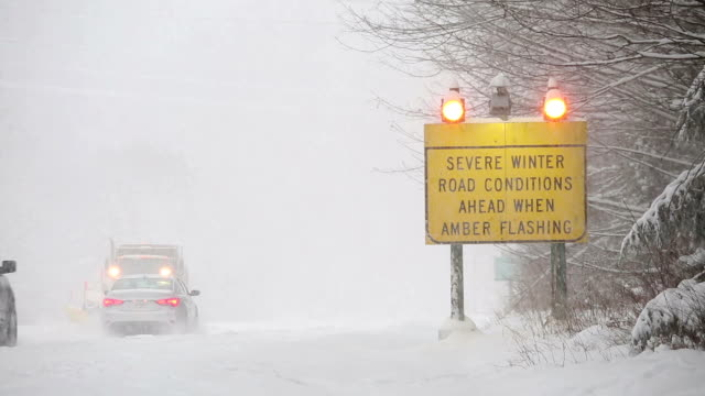 winter driving snow blizzard - condition stock videos & royalty-free footage