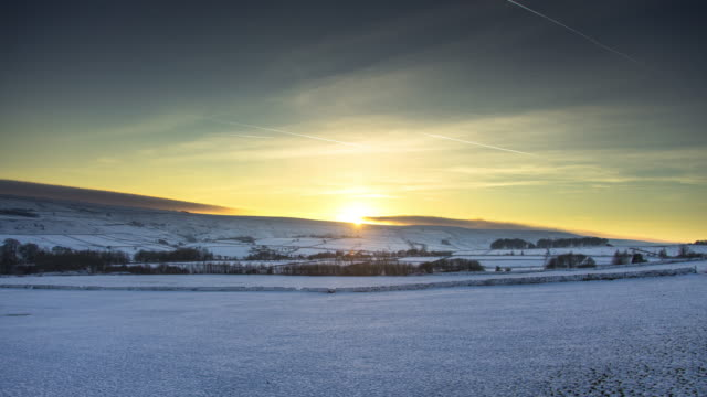 winter evening in rural west yorkshire - time lapse - yorkshire england stock videos & royalty-free footage