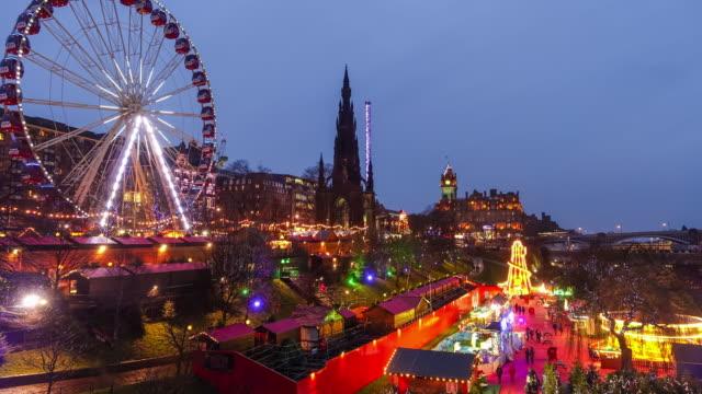 Winter festival in old town Edinburgh at night, Scotland UK