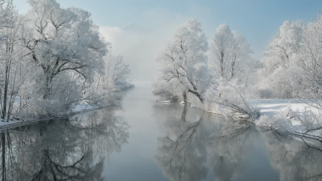 winter fog dissipating - lakeshore stock videos & royalty-free footage