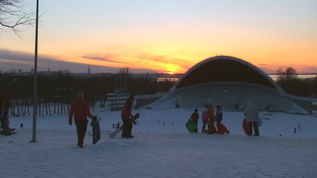Winter fun at sunset