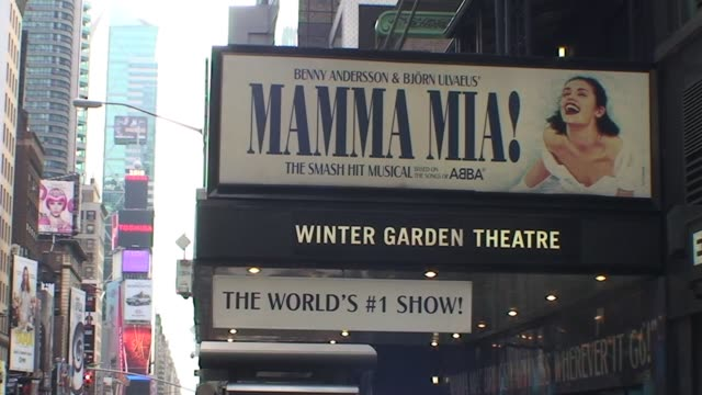 winter garden theater in new york city with mamma mia and marquee winter garden theater marquee mamma mia on january 01 2010 - salmini stock videos & royalty-free footage