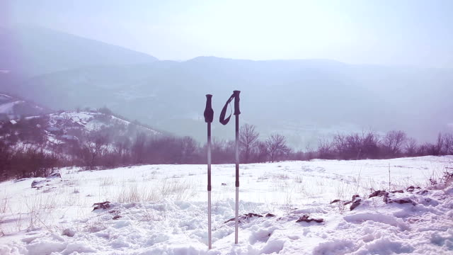 winter hiking,b roll. hiking pole - hiking pole stock videos and b-roll footage