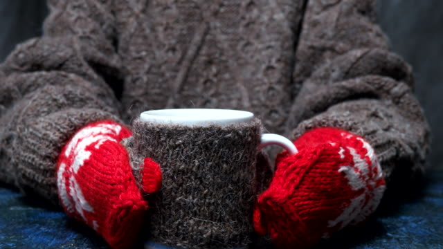 winter hot drink in hands - mitten stock videos and b-roll footage