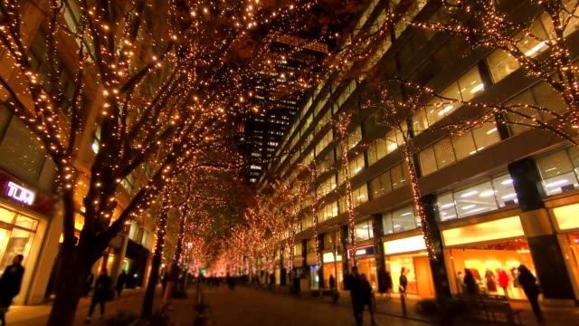 winter illumination at marunouchi,japan - public celebratory event stock videos & royalty-free footage