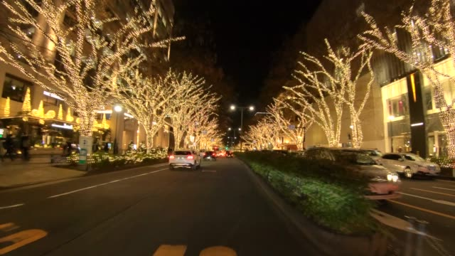 winter illumination at omotesando - zona pedonale strada transitabile video stock e b–roll