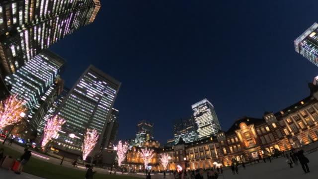 winter illumination at tokyo station - plusphoto stock videos & royalty-free footage