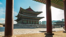 Winter in Gyeongbok Palace in Seoul city, South Korea time lapse