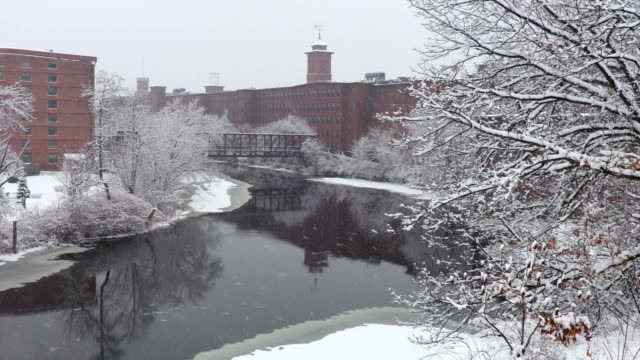 winter in nashua, new hampshire - industrial revolution stock videos & royalty-free footage