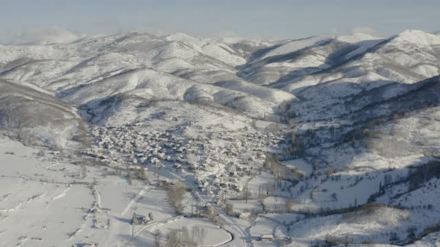 Winter in northern Spain, aerial view of a rural village