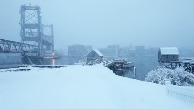 winter in portsmouth, new hampshire - kittery stock videos & royalty-free footage