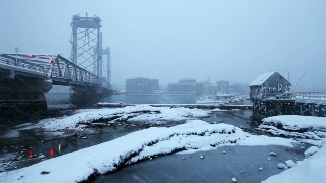 winter in portsmouth, new hampshire - new hampshire stock-videos und b-roll-filmmaterial