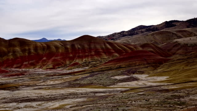 Winter in the Painted hills and clouds John Day Fossil Beds National Monument National Park 1