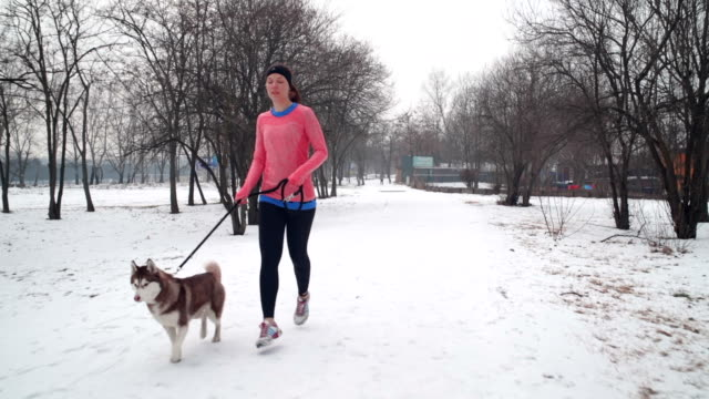 Winter jogging with dog