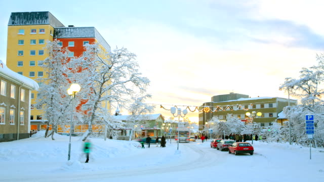 Winter Kiruna Cityscape in action at dusk