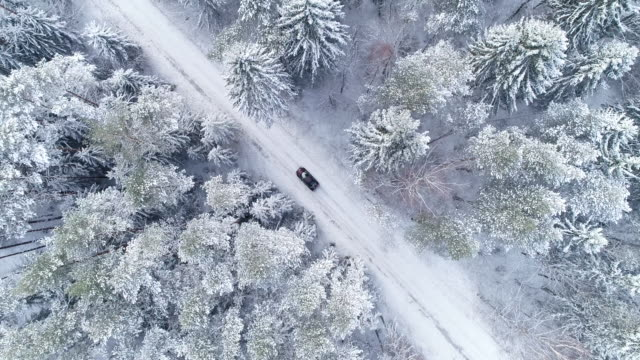 winter landscape. aerial view of road in winter with red car on it - winter stock videos & royalty-free footage
