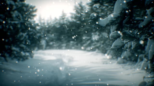 winter landscape and snow (loopable) - snowing stock videos & royalty-free footage