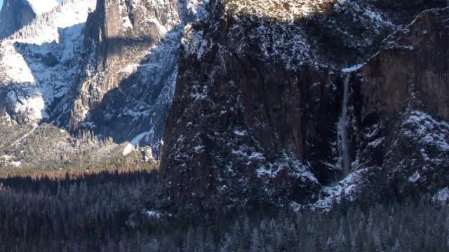winter landscape at bridal veil falls, yosemite valley - bridal veil falls yosemite stock videos & royalty-free footage