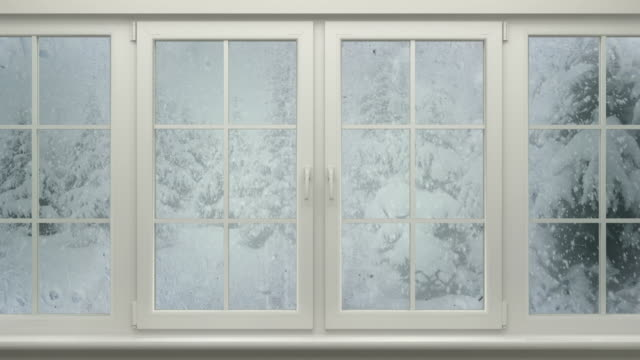 Winter Landscape Behind Window