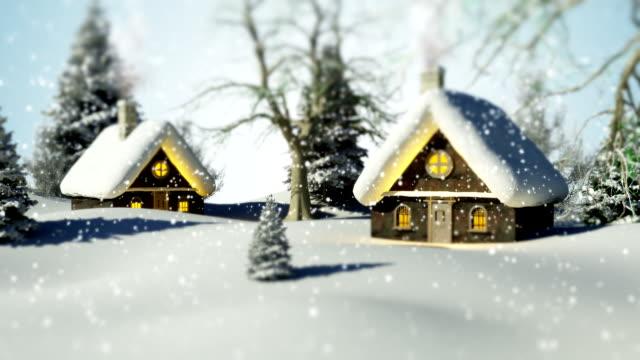 vídeos de stock, filmes e b-roll de paisagem de inverno natal/circulares / - imagem em movimento circular