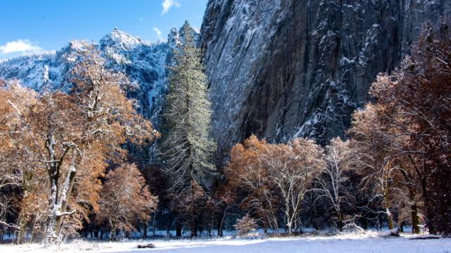 vinterlandskap i yosemite valley - bergsvägg bildbanksvideor och videomaterial från bakom kulisserna