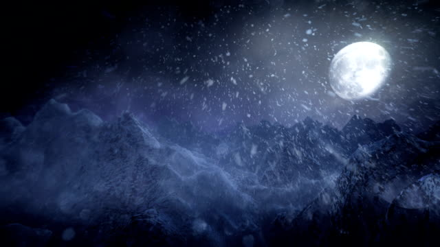vídeos de stock e filmes b-roll de paisagem de inverno (noite)-loop - nevão