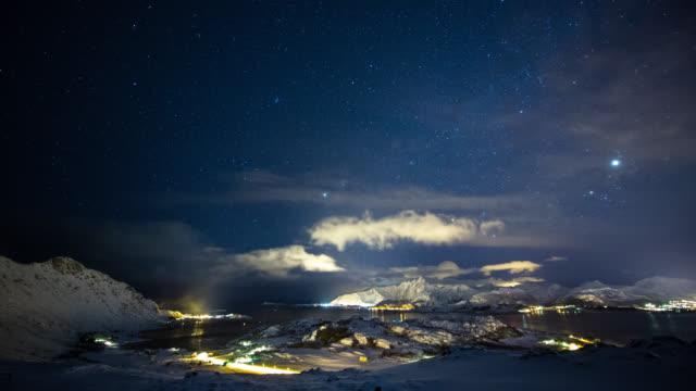 zeitraffer: winter landschaft nacht - arktis stock-videos und b-roll-filmmaterial