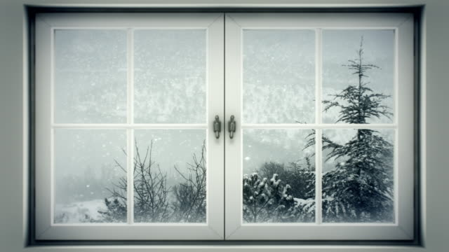 Inverno paesaggio attraverso una finestra (loop