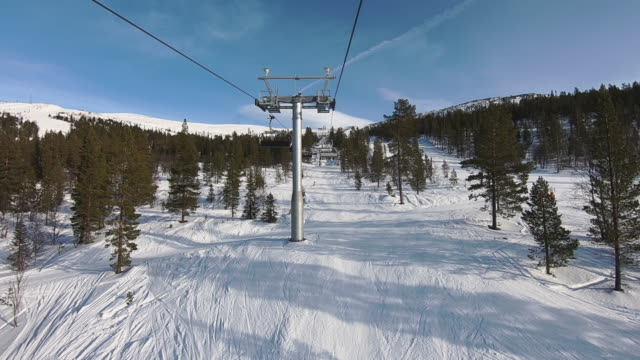 winter landscape skiing showing lift view - ski lift stock videos & royalty-free footage
